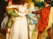Valentine rescuing Silvia from Act 5, Scene 5 in The Two Gentlemen of Verona