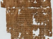 The front side (recto) of Papyrus 1, a New Testament manuscript of the Gospel of Matthew. Most likely originated in Egypt. Also part of the Oxyrhynchus Papyri (P. oxy. 2) Currently housed in: