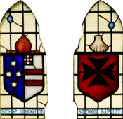 English: Stained glass windows in the entrance porch to St. John's Anglican Church, Ashfield, New South Wales (NSW). This left panel depicts the Coat of Arms of Bishop William Grant Broughton.
