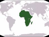 World map depicting Africa Esperanto: Mondmapo bildiganta Afrikon Español: Ubicación de África