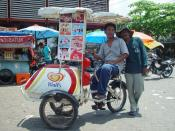 A bicycle-based ice cream vendor in Indonesia