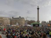 A panoramic view of St Patrick's Day in Trafalgar Square, London in March 2006