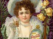 An 1890s advertisement showing model Hilda Clark in formal 19th century attire. The ad is titled Drink Coca-Cola 5¢. (US)