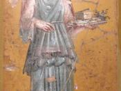 English: Fresco of woman with tray in Villa San Marco of Stabiae