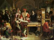 English: Caxton Showing the First Specimen of His Printing to King Edward IV at the Almonry, Westminster: With Edward are his wife, Elizabeth Woodville, and their children, Elizabeth, Edward, and Richard.