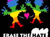 English: cartoon about happy guys in rainbow colors, against hate