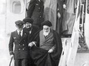 Ayatollah Khomeini returns to Iran after 14 years exile on February 1, 1979. He is helped off the plane by one of the Air France pilots.