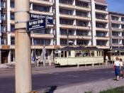 Halberstadter Straßenbahn.Trams 40 and 43, Friedrich-Engles-Straße, Halberstadt, DDR  May 1990