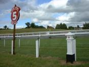 The 5 furlong (1006 m) post on Epsom Downs