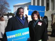 English: Rep. Albert Wynn (left) joins Gloria Feldt (right), President of the Planned Parenthood Federation of America, on the steps of the Supreme Court, to rally in support of the pro-choice movement on the Anniversary of Roe v. Wade