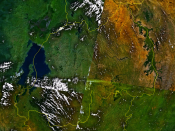 An enlargeable satellite image of Rwanda
