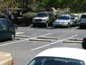 English: Photo of parking spaces in an American Parking lot in Chapel Hill, North Carolina.