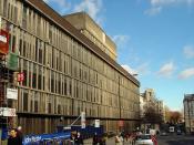 English: Bristol Royal Infirmary (BRI) Looking north-east along Marlborough Street with the BRI hospital on the left.