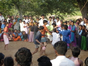 English: A game of kabaddi in progress in Bagepalli, Karnataka, India.