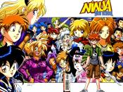 To the left, the original main characters, Asrial, Jeremy, and Ichi-kun. To the right the current cast, centred around Ricky Feeple
