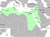 English: The Fatimid Caliphate at its greatest extent.