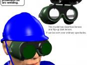 Blowtorching goggles and safety helmet I made this image with CGI.