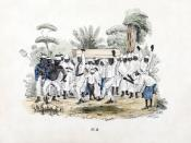 Funeral at slave plantation, Suriname. Colored lithograph printed circa 1840-1850, digitally restored.