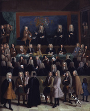 The Court of Chancery during the reign of George I, by Benjamin Ferrers (died 1732). See source website for additional information. This set of images was gathered by User:Dcoetzee from the National Portrait Gallery, London website using a special tool. A