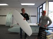 Ryan Burch with his new Hydroflex surfboard