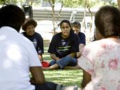 Cathy Freeman talks to survivors of domestic violence