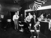 English: Barber Shop in Richardson, Texas, circa 1920. This was scanned by the uploader from the Richardson Public Library local history archives, courtesy of the Richardson Historical and Genealogical Society.