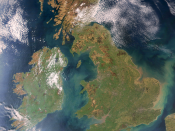 Satellite photo: Ireland is the island on the left and Great Britain is on the right