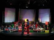 A production of Godspell performed on a 3/4 thrust stage