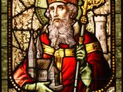English: Saint Patrick stained glass window from Cathedral of Christ the Light, Oakland, CA.