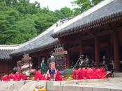 An elaborate performance of Korean ancient court music (with accompanying dance) known as Jongmyo jeryeak (hangul: 종묘제례악; hanja: 宗廟祭禮樂) is performed there each year in May. Musicians, dancers, and scholars would perform Confucian rituals, such as the Jong