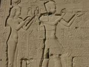 The Greek Ptolemaic queen Cleopatra VII and her son by Julius Caesar, Caesarion at the Temple of Dendera.