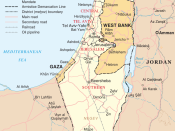 Map of Israel, the Palestinian territories (West Bank and Gaza Strip), the Golan Heights, and portions of neighbouring countries. Also United Nations deployment areas in countries adjoining Israel or Israeli-held territory, as of January 2004.