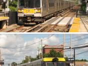 English: Long Island Rail Road provides services using electric trains and diesel (and dual-mode) trains. The top picture is in Garden City, and the bottom picture is in Farmingdale. Русский: На железной дороге Лонг-Айленда используется электрические и ди