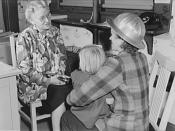 War workers' nursery. Mrs. Arlene Corbin (right), time checker in a Richmond, California shipyard brings two-and-a-half-year-old Arlene to a nursery school every morning before going home to sleep. Mrs. Corbin works on the midnight to 7:30 a.m. shift and