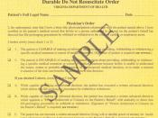 Sample Virginia Durable Do Not Resuscitate Order (Yellow Form)