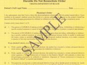 Sample Virginia Durable Do Not Resuscitate Order (Yellow Form)