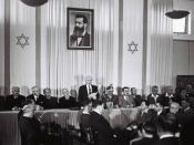 David Ben-Gurion (First Prime Minister of Israel) publicly pronouncing the Declaration of the State of Israel, May 14 1948, Tel Aviv, Israel, beneath a large portrait of Theodor Herzl, founder of modern political Zionism, in the old Tel Aviv Museum of Art