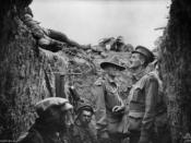 A trench at Lone Pine after the battle, showing Australian and Ottoman dead on the parapet