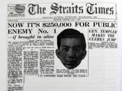 Malaya reward $250,000 for Chan Peng 《海峽時報》當年曾封面刊登懸賞陳平人頭的新聞,賞金高達25萬元,等同於今日的100萬令吉。(圖:星洲日報)