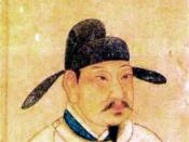 Emperor Xuanzong of Tang wearing the robes and the hat of a scholar