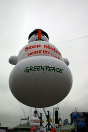 Greenpeace snow man at the G8 Summit. www.greenpeace.org/G8