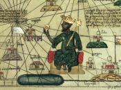 Mansa Musa depicted holding a gold nugget from a 1395 map of Africa and Europe.