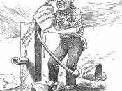 1914 US cartoon showing Woodrow Wilson priming the pump, representing prosperity, with buckets representing legislation.