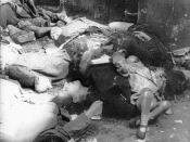 Polish Civilians murdered by German SS forces (Oscar Dirlewanger) in Warsaw Uprising , August 1944. Captured from a film by insurgent documentation cell.