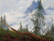 English: Mountain Peak with Drifting Clouds, oil on canvas painting by Caspar David Friedrich, c. 1835, Kimbell Art Museum