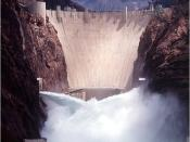 English: View of Hoover Dam with jet-flow gates open (image cropped).