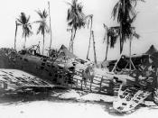 Wreckage of a Japanese Aichi D3A Val dive bomber in the Gilbert Islands, in late 1943. The aircraft seems to have been stripped of its skin by souvenir hunters.
