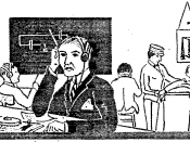 English: Cartoon showing a man receiving Morse code during an amateur radio examination.