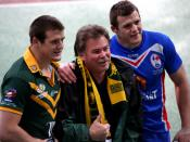 English: Josh Morris, Steve Morris and Brett Morris following the France versus Australia Rugby League Four Nations match in 2009 in Paris.