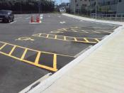 English: The mobility parking at Onehunga Train Station in Auckland, New Zealand.